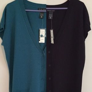 NWT Two New York & Co Short Sleeve Cardigans XL